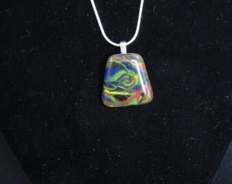 Greenish Swirl Glass Pendant with Chain