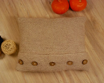 Knitted pillow Rustic cottage