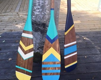 Custom designed artisan painted canoe paddle, customized painted oar, nautical home decor, painted oar, painted paddle