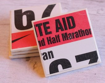 Marathon / Marathon Coasters / Half Marathon / 26.2 / Runner Gifts / Runner Girl / Runner Coasters / Race Bib / Runner / 5k / Run / Coasters