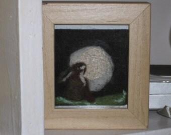 felt Picture. Moon Gazing Hare
