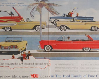 1958 Ford Ad. 1958 Ford convertibles - Ford, Thunderbird, Edsel, Mercury, Lincoln, Continental. Two page ad.  Full color.