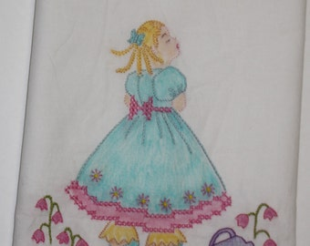 Tinted Embroidery - Nursery Rhyme Embroidery - Unfinished Embroidery piece - Mary, Mary Quite Contrary