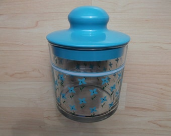 jar vintage glass with motifs blue flowers