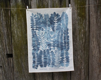 Linen / Cotton printed Tea Towel Kitchen Towel Indigo Garden