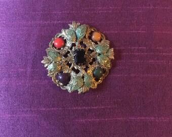 Goldtone Vintage Floral Brooch 1960s