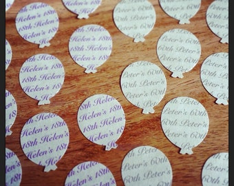 150 personalised balloon shaped table confetti pieces. 16th, 18th, 21st, 30th, 40th, 50th, 60th