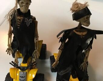 "MINI 6"" SKELETON Couple in Handmade  Leatherette Oufits on ATV's"