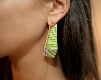 Enamel, silver and gold earrings - Valdis Brože