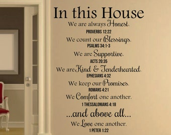 In This House Bible Verses Wall Decal Quote Christian Wall Decal Home Decor  Part 87