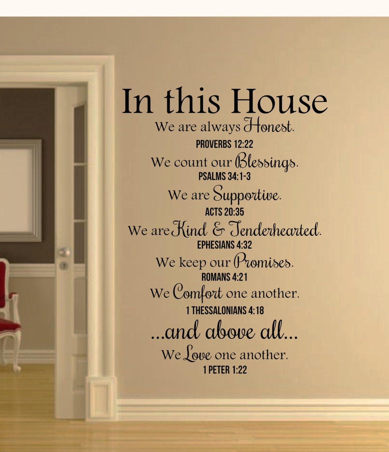 In This House Bible Verses Wall Decal Quote Christian Wall