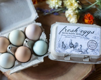 Custom Egg Carton Labels - Vintage Chicken Drawing - Fresh Eggs from Happy Hens - For Half Dozen/6-Egg Cartons