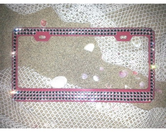 PINK FRAME With 5 Rows Sparkling Cute Bling Diamond Clear Crystal Rhinestone Metal Pink License Plate Frame