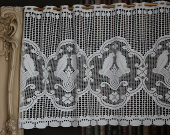 "Charming lovebirds vignette Valance panel white cotton lace cafe curtain 24"" drop sold per metre"