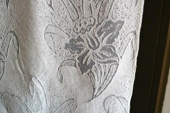 flora sprig ivory cotton madras lace curtain panel antique