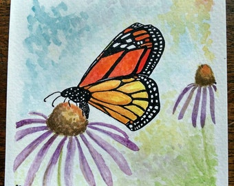 Monarch butterfly on purple coneflower original art watercolor with ink