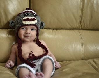 Crochet Infant Sock Monkey Photo Prop Outfit