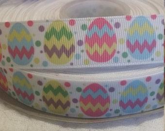 3 yards, 7/8 chevron print easter egg grosgrain ribbon