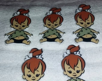 Set of 5 pebbles from the Flintstones resins for DIY projects such as scrap booking, hair bows etc.