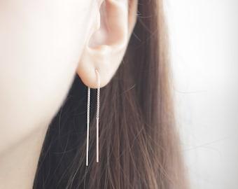 Box Chain Threader, Chain Earrings, Silver Threader, Silver Long Earrings, Long Earrings, Box Chain, Silver Box Chain, Threader Earrings
