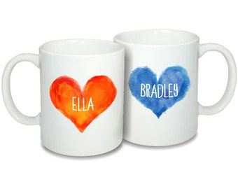 Personalized 2 Coffee Cup Set with Names. Personalized Coffee Mug. Coffee Mug with Names