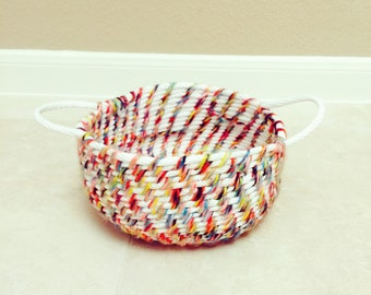 Homemade weaved rope basket
