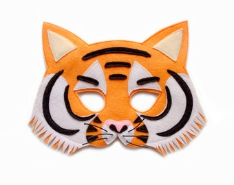 TIGER Felt Mask - Jungle animal costume - Kid's adult's mask - dress up - party mask - pretend play accessory