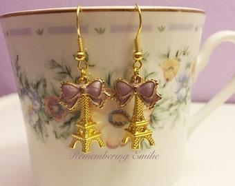 Eiffel tower golden ribbon bow earrings, gold, pink, purple, teal, ivory, Love Romantic Jewelry Paris