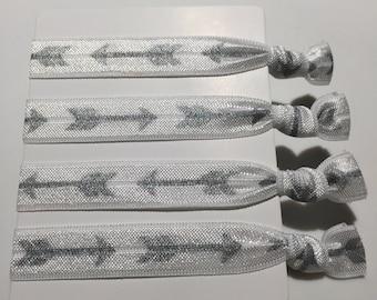 Arrow Hair Ties - silver (set of 4)