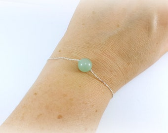 chic and discreet bracelet in massive and true silver aventurine, french jewel