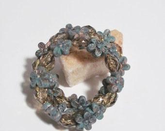 Floral Memory wire bracelet, Wired bracelet, Womens bracelet, wrap around bracelet, stainless steel, gold floral bracelet, childs wear