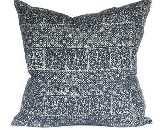 Hmong Heart & Hook Block Indigo Batik 20x20 Medium Square Pillow