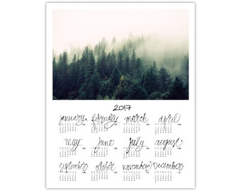 Forest Calendar 2017 - Photo Calendar Printable - 2017 Calendar - Poster Calendar - Digital Download - Christmas Gift - 8x10 - 11x14 - 16x20
