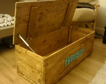 Personalised Toy Box Handmade Reclaimed Wood - Solid Wood - Waxed or Painted Cardiff Bristol