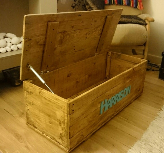 Personalised Toy Box Handmade Reclaimed Wood - Solid Wood - Waxed or ...