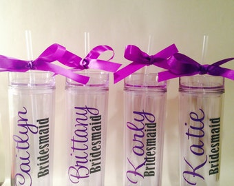 Four - Skinny Tumblers - personalized - gifts - bridesmaids - bridal party - wedding -