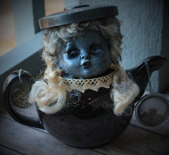Creepy Upcycled Teapot Doll-Vintage Parts Horror