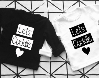 Baby shirt black and white Lets Cuddle