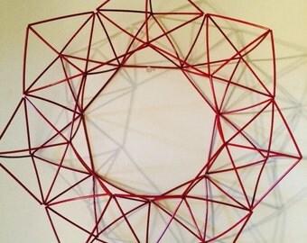 Red Pentagon Geometric Wreath