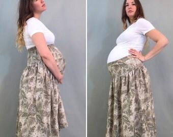 80s Green Maternity Skirt, Hippie Maternity Skirt, Maternity Midi Skirt, Floral Maternity Skirt, High Waist Maternity Skirt, Medium, Large