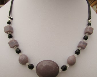 Lilac and Black beaded necklace
