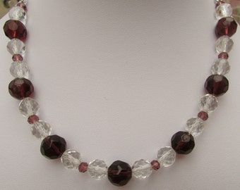 Dark pink and crystal clear faceted glass beaded necklace with silver plated chain