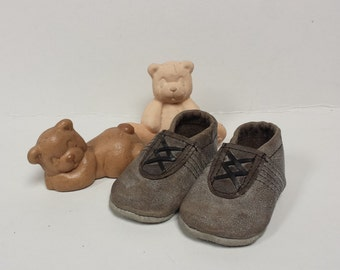 Handmade baby shoes grey black