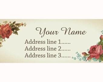 Set of 30 Personalized Return Address Vintage Flowers cute design PAL00003