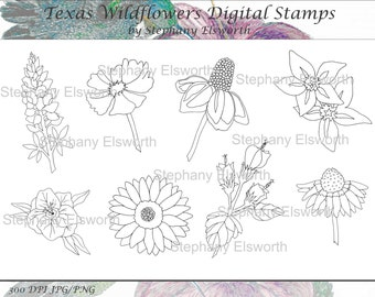 Texas Wildflowers Digital Stamp Set