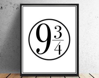 platform 9 3/4, Harry Potter, Fan Art, Instant Download, printable poster, black and white, Hogwarts Platform, by East Auklet Modern