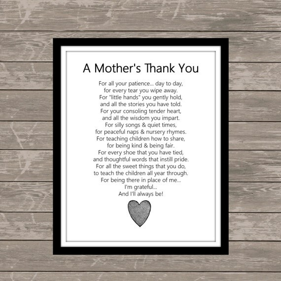 A MOTHER'S THANK YOU poem Daycare Thank You by MyTypoPlace ...