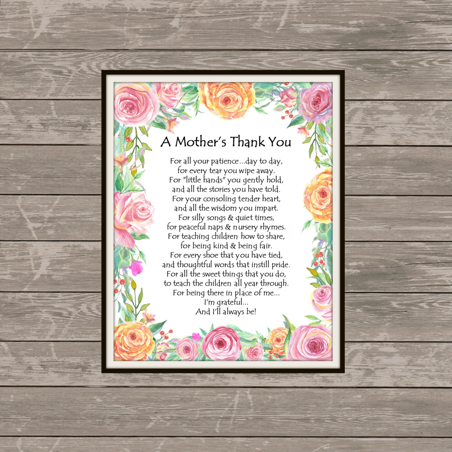 A MOTHER'S THANK YOU poem Childcare Thank You-Teacher