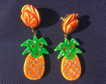 Moulin Rouge Pineapple Earrings