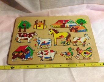 1970s Kids Farm Animal Inlay Puzzle